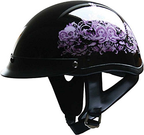 HCI Purple Flower Motorcycle Half Helmet with Visor - ABS Shell 100-141 (Small)