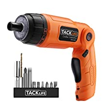 Tacklife SDH13DC Advanced Cordless Screwdriver 3.6-Volt MAX Torque 4N.m 3-Position Rechargeable with 10pcs of Screwdriver Bits, 4 LED Light for Around-the-House Jobs