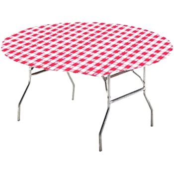 Creative Converting Round Stay Put Table Cover, 60 Inch, Red Gingham