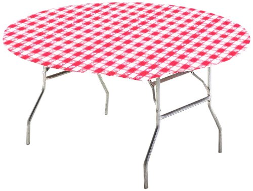 Round Red Vinyl - Creative Converting Round Stay Put Table Cover, 60-Inch, Red Gingham