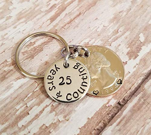 25th Anniversary Gift 25 Years & Counting Handmade Key Chain with a 1994 Quarter ()