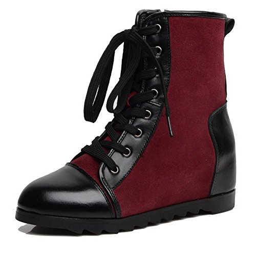 AmoonyFashion Womens Round-Toe Closed-Toe Kitten-Heels Boots With Heighten Inside and Zippers Claret nBux3t