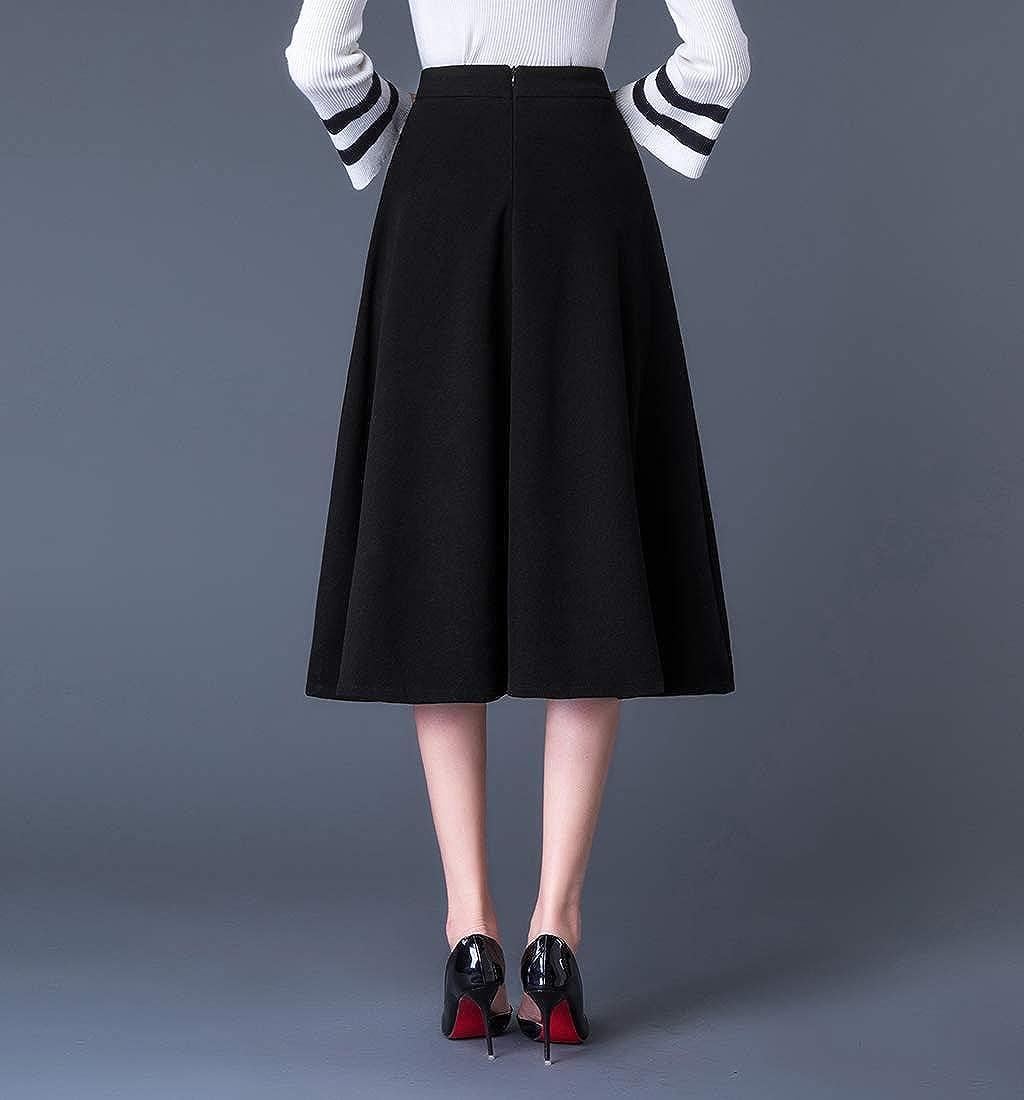 RIZ-ZOAWD Women's Elegant Vintage Woolen Long Skirt Girls A-Line Autumn and Winter Warm Midi Skirt Solid Color Black