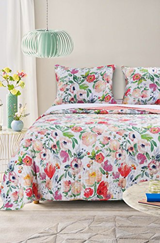 Barefoot Bungalow GL-1711BMSQ Blossom Quilt Set, Full/Queen, Multi - Pastel Floral Quilt