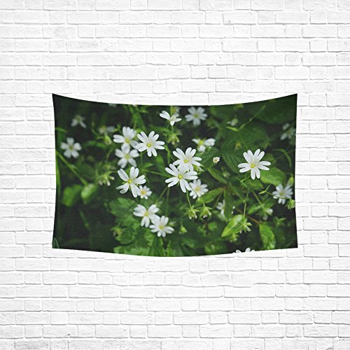 WUTMVING Tapestry Stitchwort Flowers White Chickweed Dianthus Plant Hippie Tapestries Wall Hanging Flower Tapestry Wall Hanging Dorm Decor For Living Room Bedroom 60 X 40 Inch ()