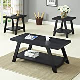 Roundhill Furniture OS3372 Athens, Coffee Table Set, Black For Sale