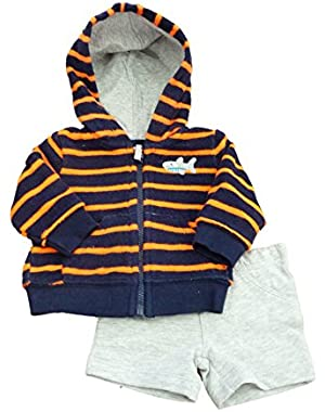 Carters Infant Boys Orange Striped Terrycloth Hoodie & Gray Shorts Set