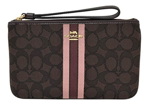 - Coach Large Wristlet in Signature Jacquard with Stripe Brown Multi F43009