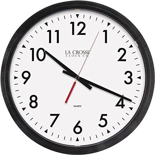14 Inch Atomic Wall Clock (Geneva Clock Company 3980GG Black Commercial Hanging Wall Clock)