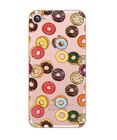 DECO FAIRY iPhone 8/7 Compatible, Delicacy Tart Sweet Love Donut Pizza Colorful Rubber Flexible Silicone Case Bumper for Apple Clear Cover (Donut Overload) (Onion Tart)