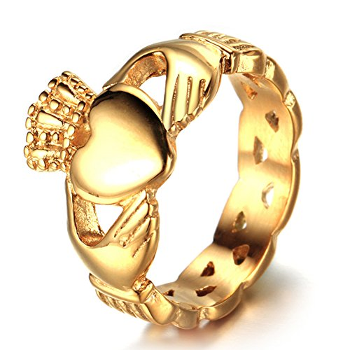 Chryssa Youree 6 mm Stainless Steel Women's Claddagh Ring Love Heart Celtic Knot Crown Engagement Wedding Band 7 to 12 (FR-02) (Size 12, Gold) (Ring Knot Claddagh Gold)
