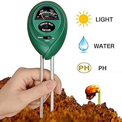 Soil pH Meter, CooAgo 3-in-1 Soil Test Kit For Moisture, Light & pH, A Must Have For Home And Garden, Lawn, Plants, Herbs & Gardening Tools, Indoor/Outdoors Plant Care Soil Tester (No Battery Needed)