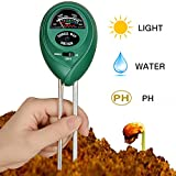 Soil Tester, CooAgo 3-in-1 Soil Test Kit Moisture Soil Meter with Light, PH & Acidity Meter Gardening Tools for Plant, Lawn, Farm, Indoor/Outdoors, Easy Read Indicator (No Battery Needed)