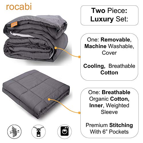 """rocabi 5 lbs Kids Weighted Blanket & Breathable Cotton Cover Luxury Set (41""""x60"""") A Heavy Weighted Comforter for a Child Between 40-70 Pounds Using Premium Glass Beads & Removable Cover"""