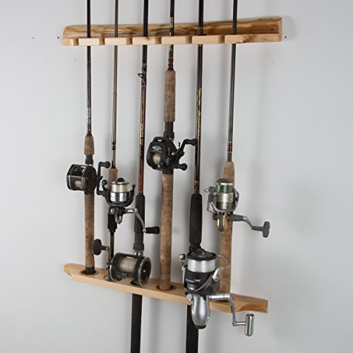 Rush Creek Log Cabin Style 6 Fishing Wall-Ceiling Rod Rack Pole Light Storage Clips
