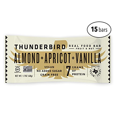 Thunderbird Paleo and Vegan Real Food Energy Bars - Almond Apricot Vanilla - Box of 15 - no Added Sugar, Grain and Gluten-Free, Non-GMO