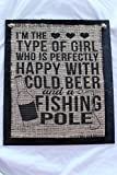 girl beer signs - Burlap Country Rustic Chic Wedding Sign Western Home Décor Sign : I'm the type of girl who is perfectly happy with cold beer and a fishing pole