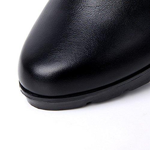 Amoonyfashion Dames Ronde Neus Gesloten Neus Hoge Hakken Laarzen Met Metalen Gespen En Ritsen Zwart