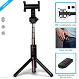 ZAAP® (USA) NUSTAR6 Aluminium Premium Bluetooth Monopod Selfie Stick with In-built Tripod     10000+ clicks per charge   Universal Compatible For iPhone, Andriod & other Smartphones (Black)