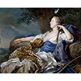 polyster Canvas ,the Vivid Art Decorative Canvas Prints of oil painting 'Loo Louis Michel van Diana en un paisaje 1739 ', 24 x 29 inch / 61 x 75 cm is best for Basement artwork and Home gallery art and Gifts
