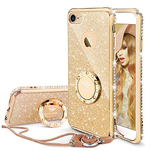 iPhone 6 6s Case, Glitter Cute Phone Case Girls with Kickstand, Bling Diamond Rhinestone Bumper with Ring Stand Thin Soft Protective Sparkly Luxury for Apple iPhone 6 6s Case for Girl Women - Gold