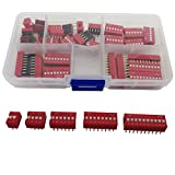 Double Row 2.54mm Pitch DIP Encode Switch Kit 2 4 6 8 10 Positions total 35 Pcs