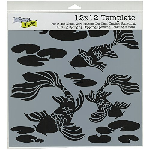 CRAFTERS WORKSHOP Koi Pond Template, 12-Inch by 12-Inch (Koi Stencil)