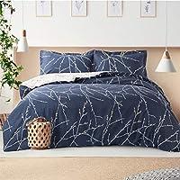 Bedsure Bettwäsche Grau & Beige 135x200cm Bettbezug mit Zweige Muster, Super Weiche Atmungsaktive Mikrofaser Bettwäsche,...