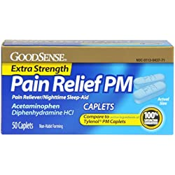 GoodSense Acetaminophen Pain Reliever/Fever Reducer PM, 50 Count