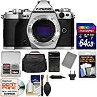 Olympus OM-D E-M5 Mark II Micro 4/3 Digital Camera Body (Silver) with 64GB Card + Case + Battery & Charger + Kit