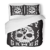 Emvency Bedding Duvet Cover Set Twin (1 Duvet Cover + 1 Pillowcase) Gaming Skull Gamer Graphics Rock Badge Lettering Old Retro Tattoo Ribbon Hotel Quality Wrinkle and Stain Resistant