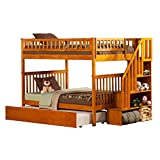 Woodland Staircase Bunk Bed with Urban Trundle, Caramel Latte, Full Over Full