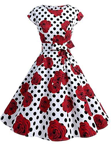 HUINI Polka Dots Vintage Kleid 50er Audrey Hepburn Retro Rockabilly Swing  Kleid mit Punkten Kurzarm Rundhalsausschnitt 4d0ced77fe