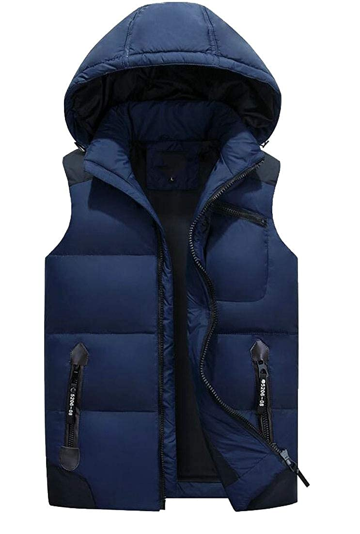 XQS Mens Lightweight Hooded Solid Sleeveless Jacket Down Vest