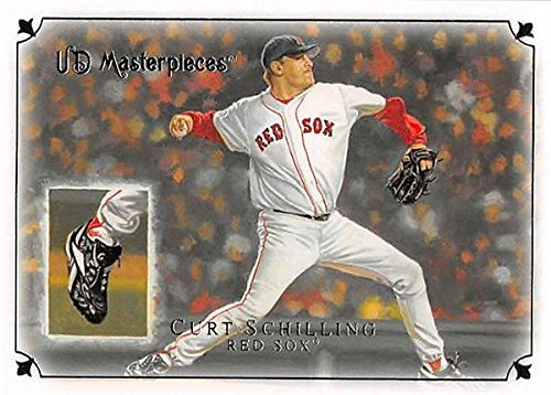 Curt Schilling baseball card (Boston Red Sox) 2007 Upper Deck Masterpieces World Series Bloody Sock #90 (Autographed Card Deck Upper)