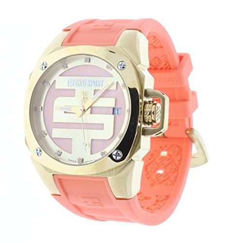 Technosport Swarovski Crystal 38mm Gold Case Coral Silicone Strap Women's Watch TS-102-14