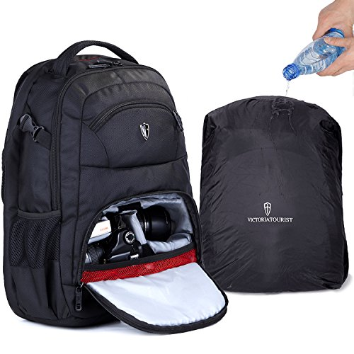 Camera Bag DSLR Backpack with 16 inch Laptop Compartment and Waterproof Rain Cover by WANDF, Black