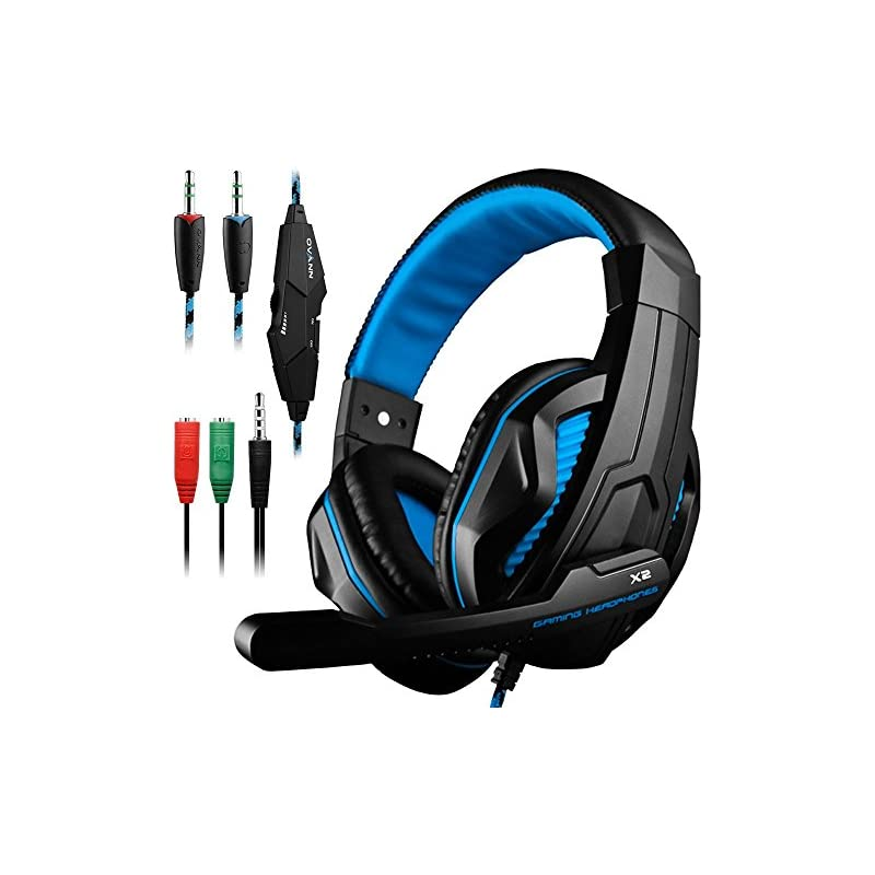 Gaming Headset,DLAND 3.5mm Wired Bass Stereo Noise Isolation Gaming Headphones with Mic for Laptop Computer, Cellphone, PS4 and so on- Volume Control (Black and Blue)