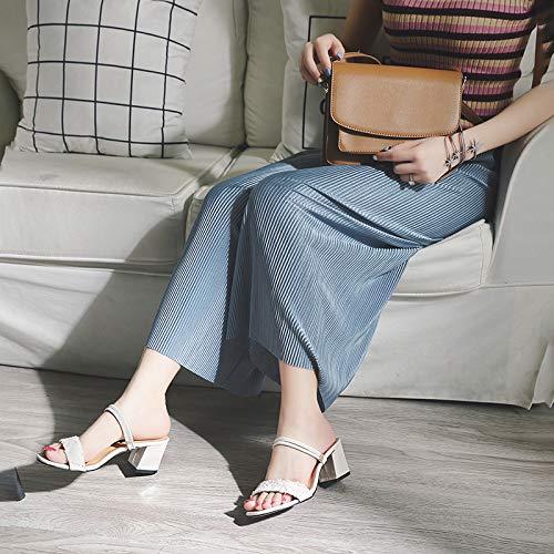 KPHY-Zwei Sandalen Absätze Mädels Die Absätze Sandalen Die Nahen Heels Damenschuhe Mode Kleine Erfrischende Student Schuhe 6 cm 37 Beige - 232208