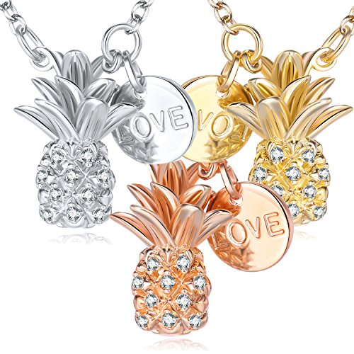 Forever & Ever Women Girls Gold Pineapple Necklaces - Exquisite Fashion Vivid Stereoscopic Design Fruits Gold Necklace Made with Swarovski Crystals, A Little Romance Necklaces for Girls