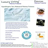 California-King Size Luxury Living Premium Hypoallergenic 100% Terry Waterproof Mattress Protector by Royal Hotel
