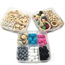 Amyster DIY Nursing Jewelry Combination Package Blending Wood Hearts Spiral Beads Oblong Geometric Wood Crochet Beads Rectangle Oval Flat Chips Abacus Silicone Beads Baby Teether Toys Set (A153+A154+A157)