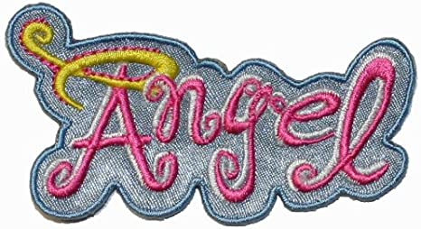 ANGEL AND HALO PINK Embroidered Sew Iron On Cloth Patch Badge APPLIQUE