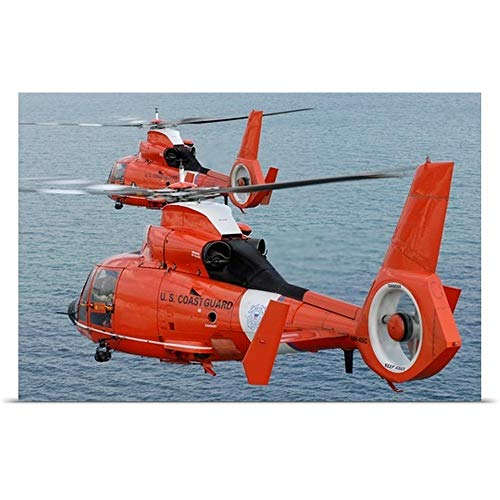 GREATBIGCANVAS Poster Print Entitled Two Coast Guard HH 65C Dolphin Helicopters Fly in Formation Over The Atlantic Ocean by Stocktrek Images 18