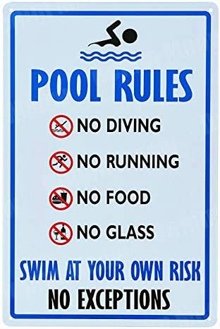 """""""NA"""" Pool Rules Signs No Diving No Running No Food No Glass Metal Tin Signs Warning Sign Easy Mounting Indoor Or Outdoor Use 20x30cm I"""