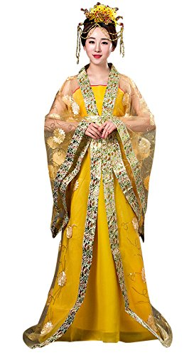 CRB Fashion Womens Ladies Stunning Asian Oriental Chinese Dynasty Ming Qin Han Xia Dress Costume with Head Accessories (Yellow) (Cultural Dress Up Clothes)