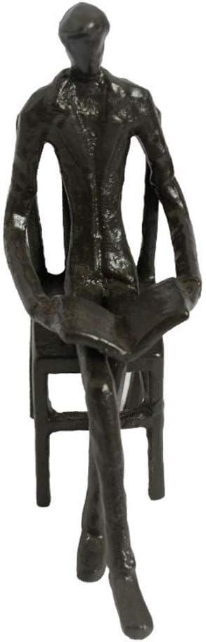 YAzNdom Adorno De Escultura De Estilo Europeo, Hombres De Lectura Adornos De Hierro Fundido La Escultura del Metal Crafts Adecuado para La Decoración De La Sala de Estar