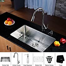 Kraus KHU100-30-KPF1621-KSD30CH 30 inch Undermount Single Bowl Stainless Steel Kitchen Sink with Chrome Kitchen Faucet and Soap Dispenser