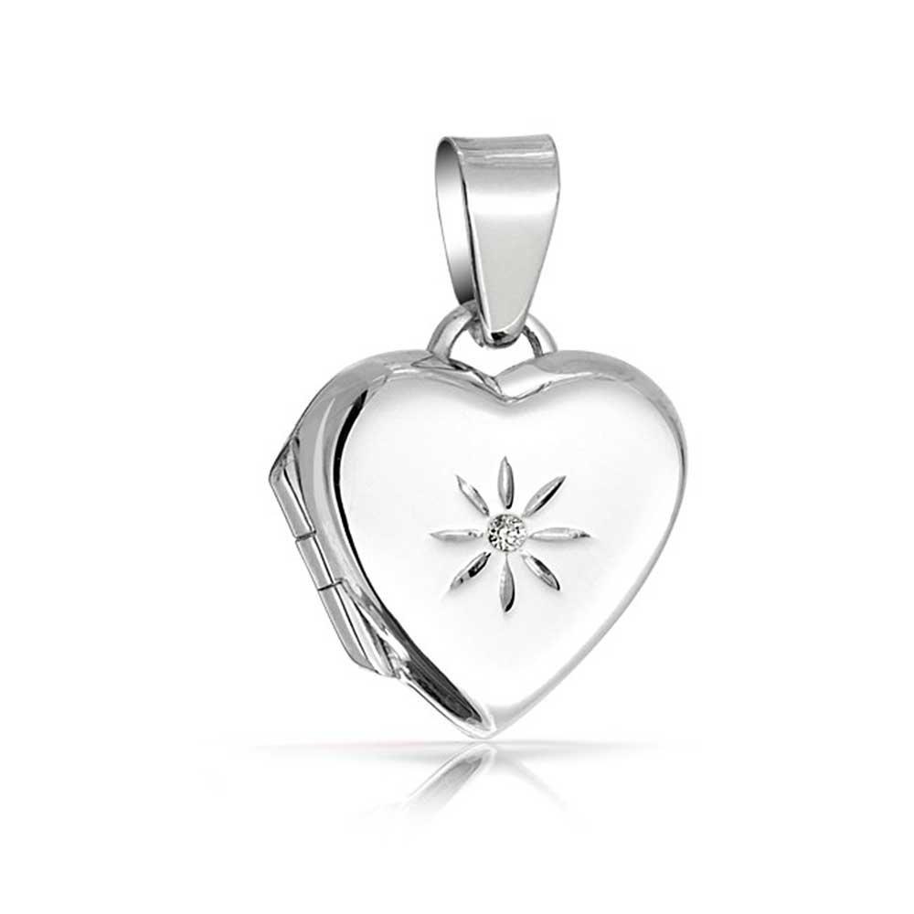 Childrens Heart Shaped CZ Sterling Silver Locket Pendant