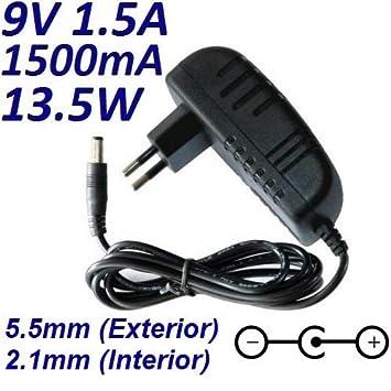 Cargador Corriente 9V 1.5A 1500mA 5.5mm 2.1mm 13.5W: Amazon ...